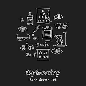 Insieme di doodle disegnato a mano di optometria