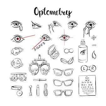 L'optometria è un insieme di icone, con occhi, lenti e occhiali per la grafica delle informazioni mediche. illustrazione vettoriale disegnato a mano su sfondo bianco.