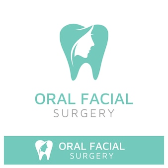 Orale facciale logo design dentista dente dentale forma dei denti e silhouette del viso di donna di bellezza