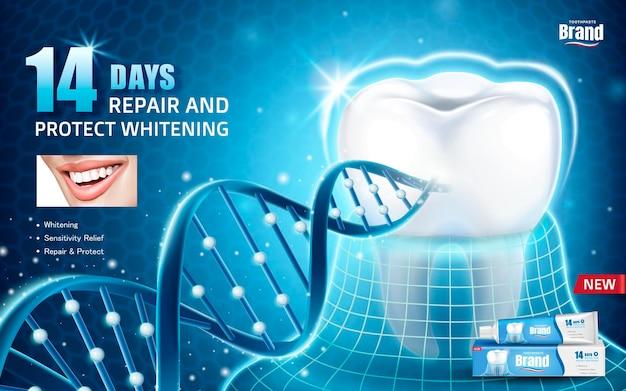 Annunci per la salute orale, annuncio di prodotti per dentifricio con dente protetto da un rivestimento invisibile con struttura del dna glitterato in illustrazione 3d