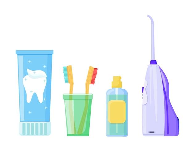 Prodotti per l'igiene orale, un irrigatore, uno spazzolino da denti e una pasta. vettore