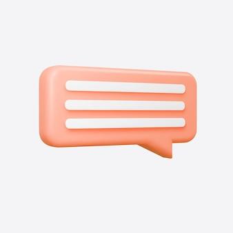 Conversazione arancione della bolla 3d isolata su fondo grigio. fumetto di corallo lucido, dialogo, forma del messaggero. 3d render icona vettoriale per social media o sito web.