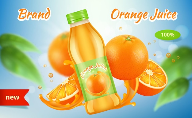 Annunci arancioni. bottiglia di succo di vitamine placard con spruzzi di frutta spray pubblicità grafica.