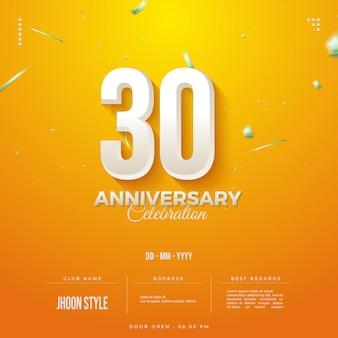 Sfondo arancione per invito alla celebrazione del 30 ° anniversario