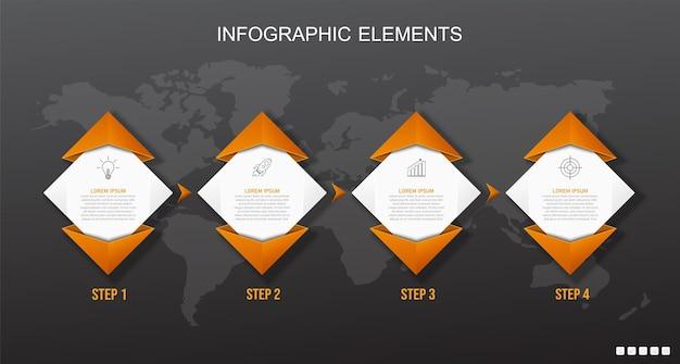 Modello di elementi infographic arancione e nero.