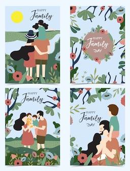 Cartolina di famiglia blu arancione con donne