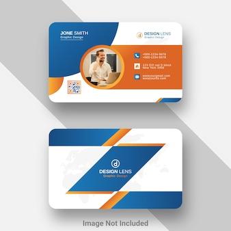 Modello di biglietto da visita creativo in stile sfumato arancione e blu