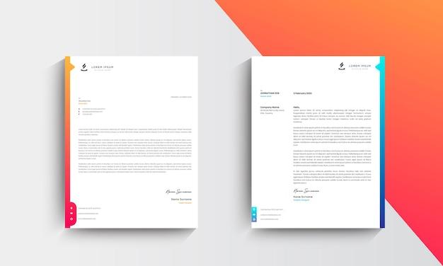 Modello di progettazione di carta intestata aziendale moderno arancione e blu
