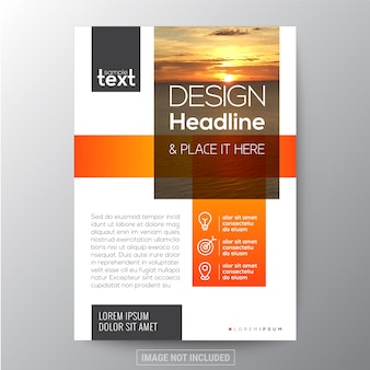 Disegno di modello del brochure di affari arancione