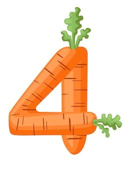 Carota arancione numero 4 stile cibo vegetale cartoon design piatto illustrazione vettoriale