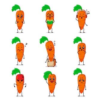 Carota arancione verdura frutta icona caricatura del fumetto emoticon espressione facendo attività quotidiana giocare a basket boxe palestra skateboard lettura libro college giro cantando musica selfie felice innamorarsi