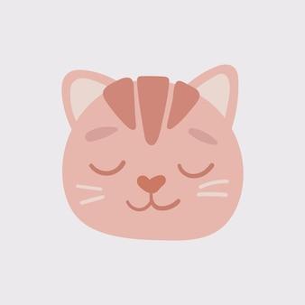 Icona ovale del viso testa di gatto arancione con gli occhi chiusi. simpatico personaggio divertente del fumetto. baffi. collezione di stampe per bambini per animali domestici. buon san valentino. stile scandinavo isolato. vettore