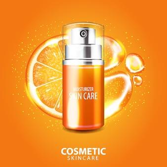 Illustrazione della bandiera del siero di cura della pelle della vitamina del collagene arancione