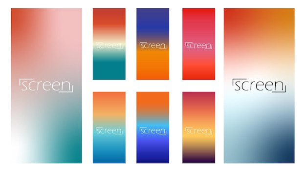Collezione arancione di sfondi sfumati lisci colorati per il design vettoriale dello schermo moderno per sfumature di colore mobili