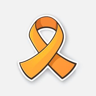 Simbolo internazionale del nastro di colore arancione della leucemia o della consapevolezza della sclerosi multipla