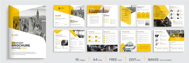 Layout del modello di brochure aziendale di forma di colore arancione