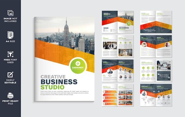 Design del modello di brochure del profilo aziendale di forma di colore arancione o modello di progettazione di brochure multipagina