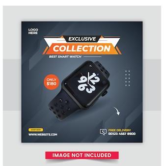 Modello di banner post sui social media del prodotto di marca dell'orologio di colore arancione