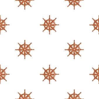 Reticolo di doodle senza giunte delle siluette del timone della nave di colore arancione. contesto isolato avventura in mare.