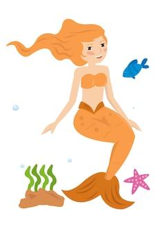 Principessa sirena costume arancione nel mare
