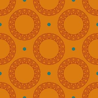 Reticolo senza giunte rugiadoso arancione con ornamenti d'epoca. sfondo in un modello di stile vintage. elemento floreale indiano. ornamento grafico per tessuto, packaging, packaging.