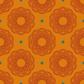 Reticolo senza giunte rugiadoso arancione con ornamenti d'epoca. sfondo in un modello di stile vintage. elemento floreale indiano. ornamento grafico per carta da parati, tessuto, imballaggi e carta.