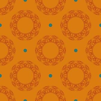 Reticolo senza giunte rugiadoso arancione con ornamenti d'epoca. sfondo in un modello di stile vintage. elemento floreale indiano. ornamento grafico per carta da parati, tessuto, imballaggio.