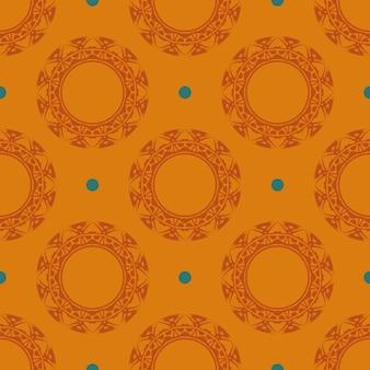 Reticolo senza giunte rugiadoso arancione con ornamenti d'epoca. sfondo in un modello di stile vintage. elemento floreale indiano. ornamento grafico per carta da parati, imballaggio, confezionamento.