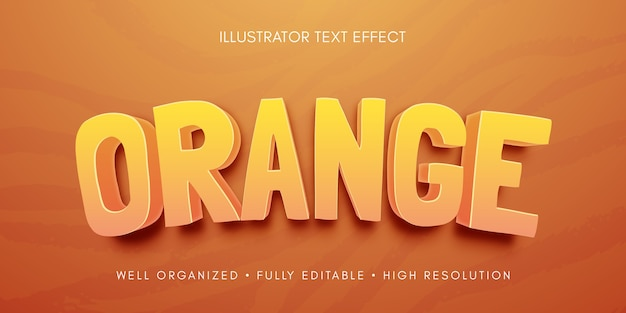 Illustrazione di effetto testo modificabile arancione