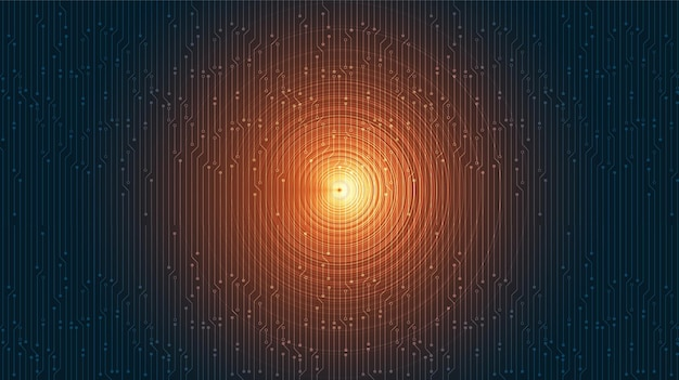 Equalizzatore arancione su sfondo digitale dell'onda sonora.