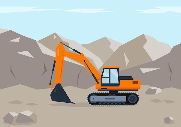 L'escavatore arancione scava il terreno vicino alle montagne. macchine edili in azione.