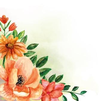 Mazzi di fiori angolari di fiori d'arancio con foglie verdi