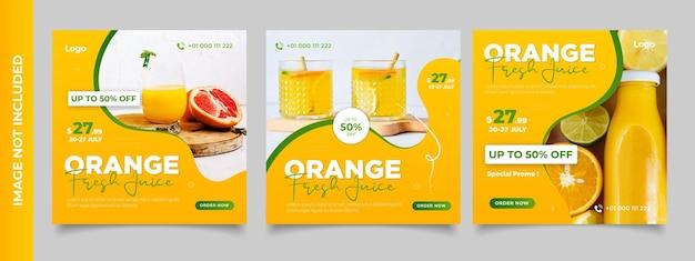 Modello di banner sui social media per la promozione del menu di bevande fresche arancione