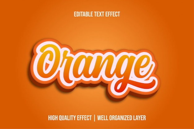 Orange, fruit editable text effect style Vettore Premium