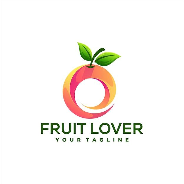 Design del logo sfumato di frutta arancione