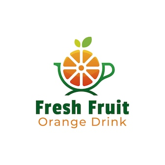 Design del logo di frutta arancione e bevanda salutare
