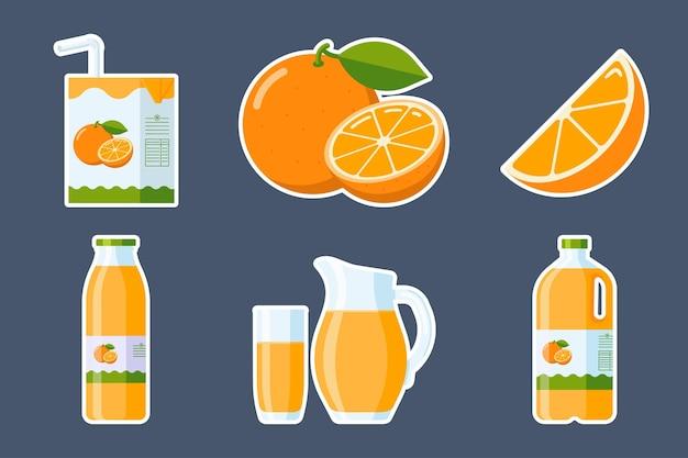 Set di adesivi di frutta e succo d'arancia. collezione di elementi di agrumi in stile piatto: fetta d'arancia e frutta intera, cartone di confezioni di succo d'arancia, vetro, brocca, bottiglia di plastica e vetro. vettore premium