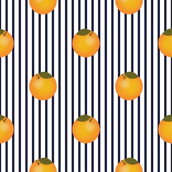 Reticolo a strisce senza giunte di frutta arancione. design di frutta estiva.