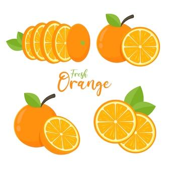 Set vettoriale di frutta arancione arancia tagliata a metà con foglie verdi per un succo sano.