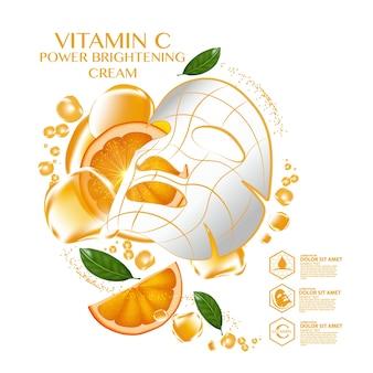 Cosmetico per la cura della pelle dell'umidità del siero della frutta arancione