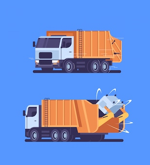 Il camion di immondizia arancio che prende ricicla il veicolo sanitario urbano del bidone della spazzatura