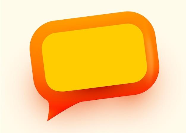 Illustrazione di bolla di discorso lucido arancione. concetto di comunicazione di rete sociale.