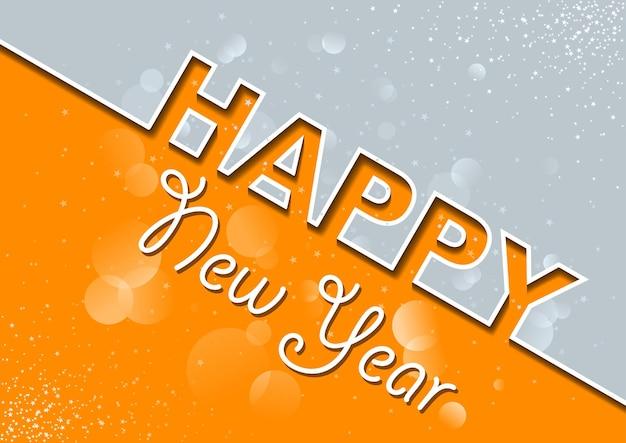 Biglietto di auguri di capodanno grigio arancione con effetto bokeh