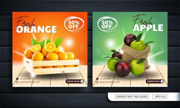Volantino arancione e verde o banner per social media per fruttivendolo Vettore Premium