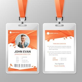 Modello di carta d'identità arancione con foto