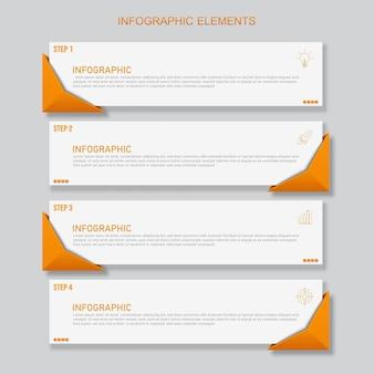 Modello di elementi infographic arancione, concetto di affari con 4 opzioni