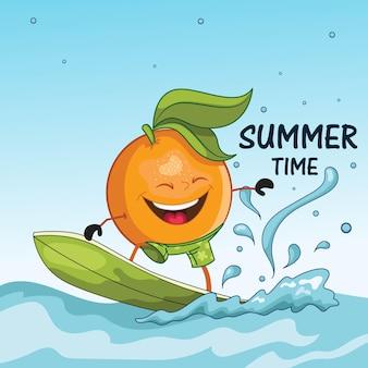 Orange è in piedi su un design estivo di skateboard ad acqua