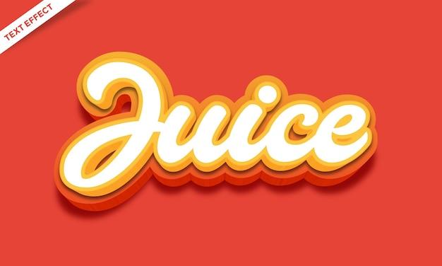 Effetto di testo 3d di succo d'arancia