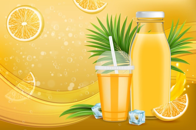 Annunci di succo d'arancia gustoso pacchetto di succo di agrumi design promozione poster modello banner illustrazione vettoriale