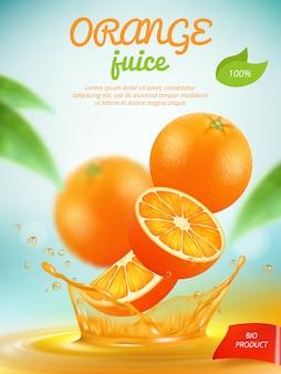 Banner di succo d'arancia con fetta di frutta fresca arancione nel modello di spruzzi di liquido. bandiera di succo d'arancia, bevanda liquida, bevanda fresca di frutta